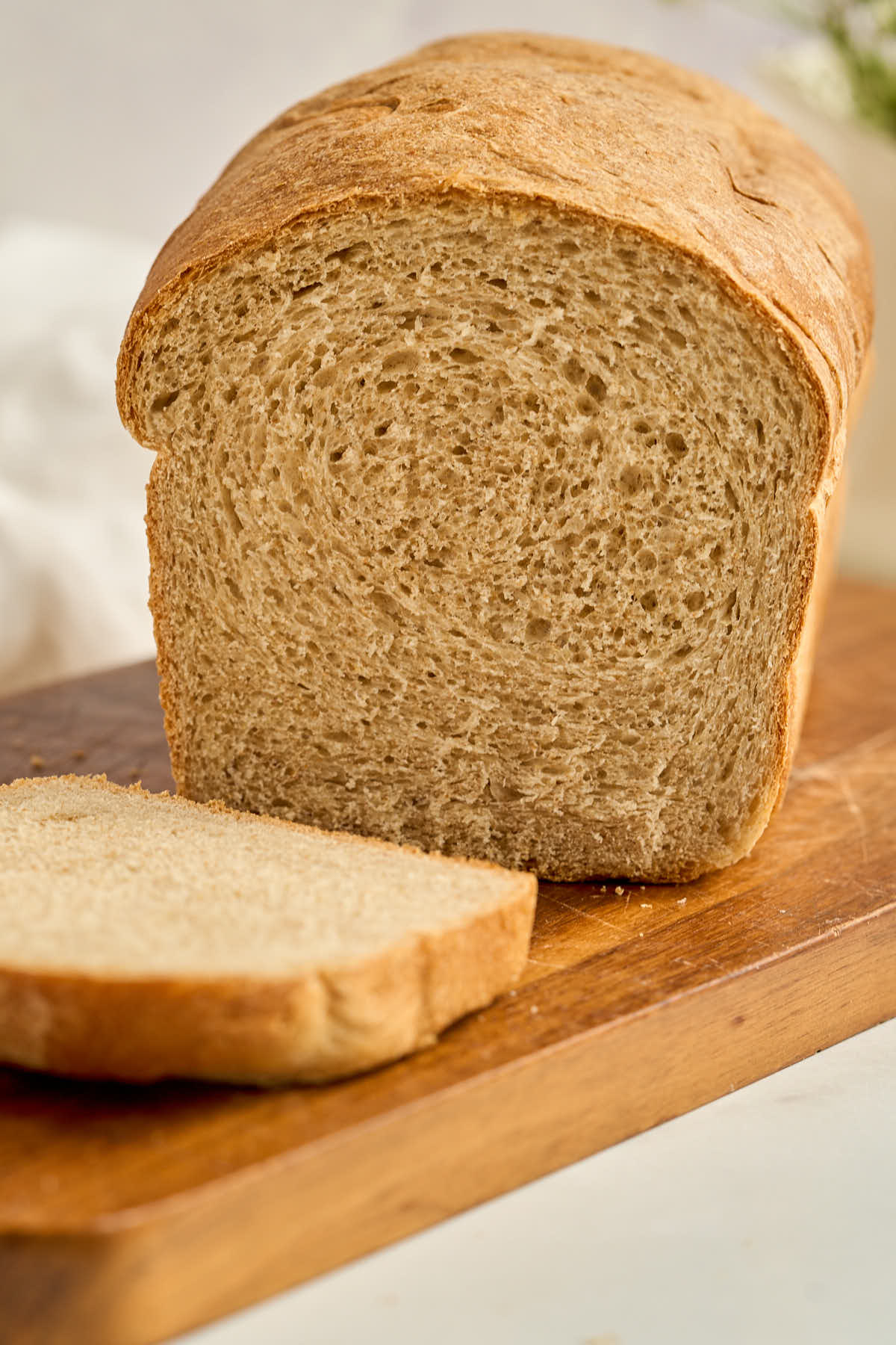 wheat bread on cutting board