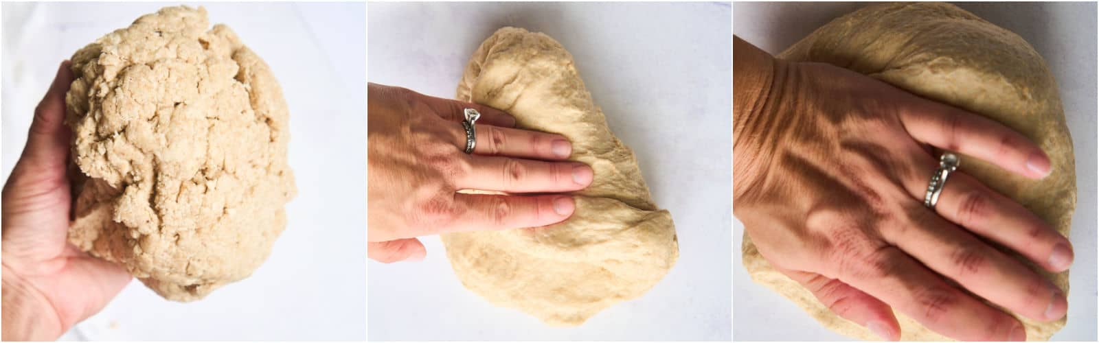 grid of 3 images showing kneading bread by hand