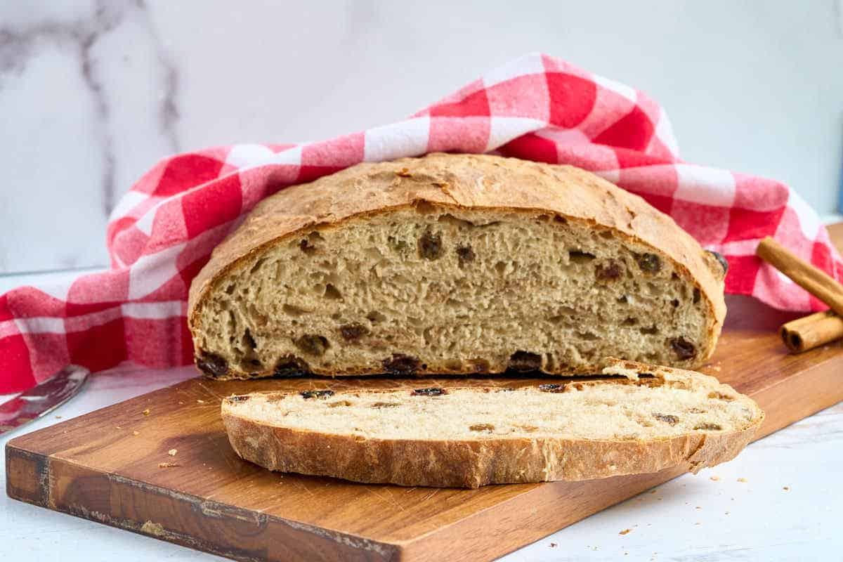 finished round loaf of no knead cinnamon raisin bread