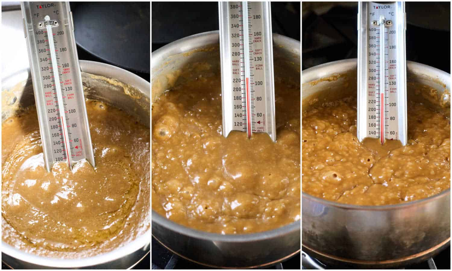 3 images showing how caramel looks in saucepan as it boils and comes to soft ball stage