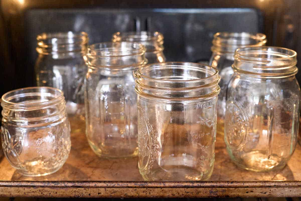 pint and half pint jars in oven to heat up