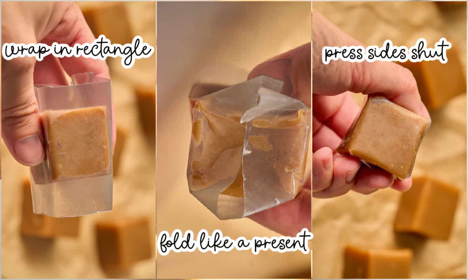 grid of 3 images showing how to wrap soft caramels in a rectangular piece of wax paper