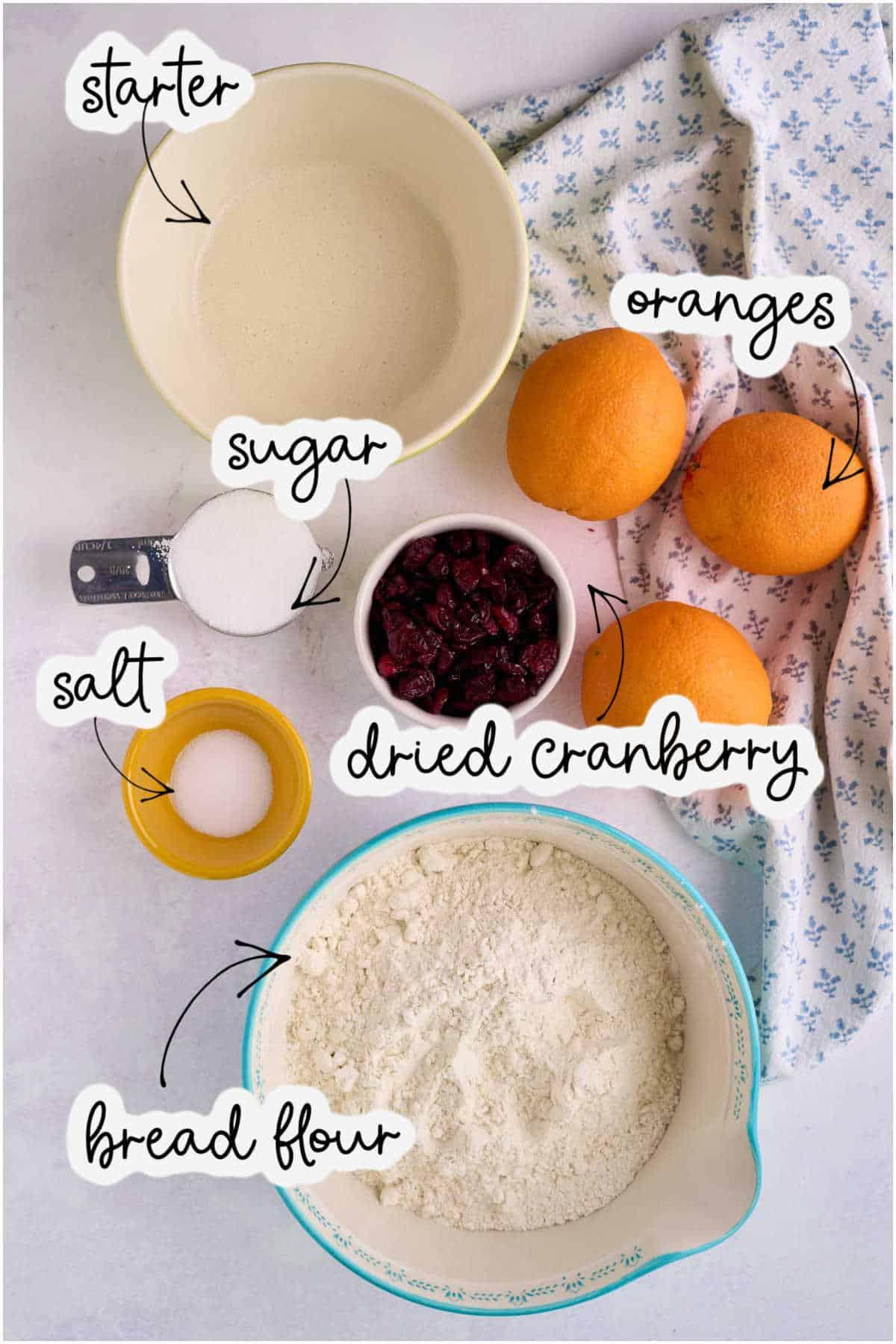 bread flour, sourdough starter, oranges, cranberries