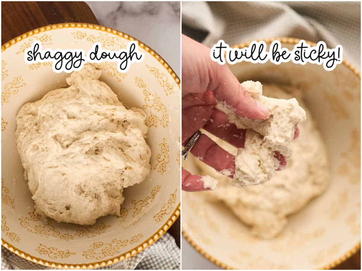 2 images showing wet and sticky consistency of dough