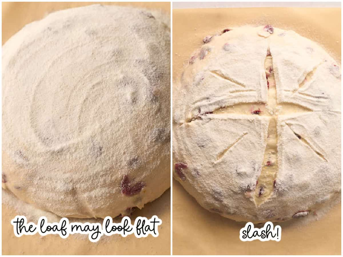 loaf dusting with rice flour and slashed with lame