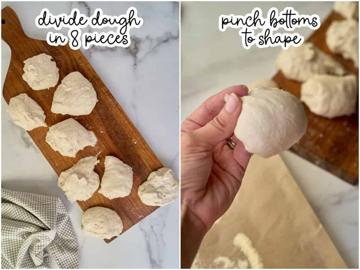 image showing sourdough divided and shaped into rolls
