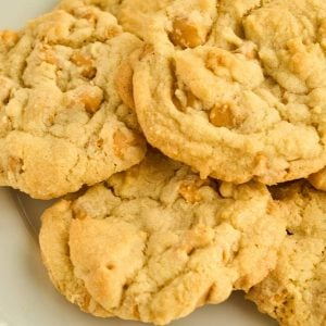 close of view of plate of butterscotch cookies