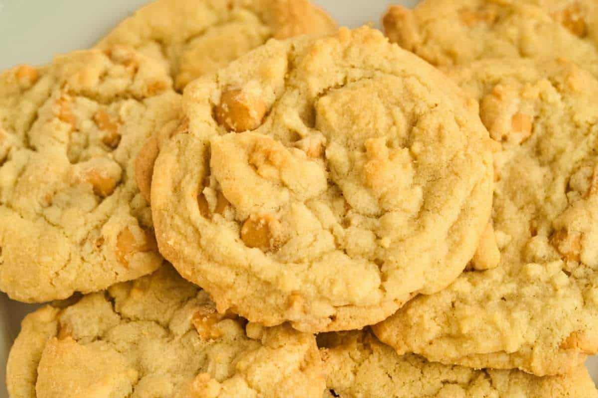 close up view of drop cookies with butterscotch chips