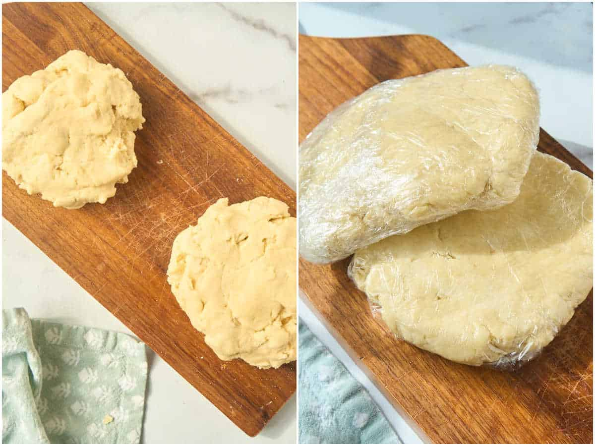 pie crust divided in two and wrapped for chilling