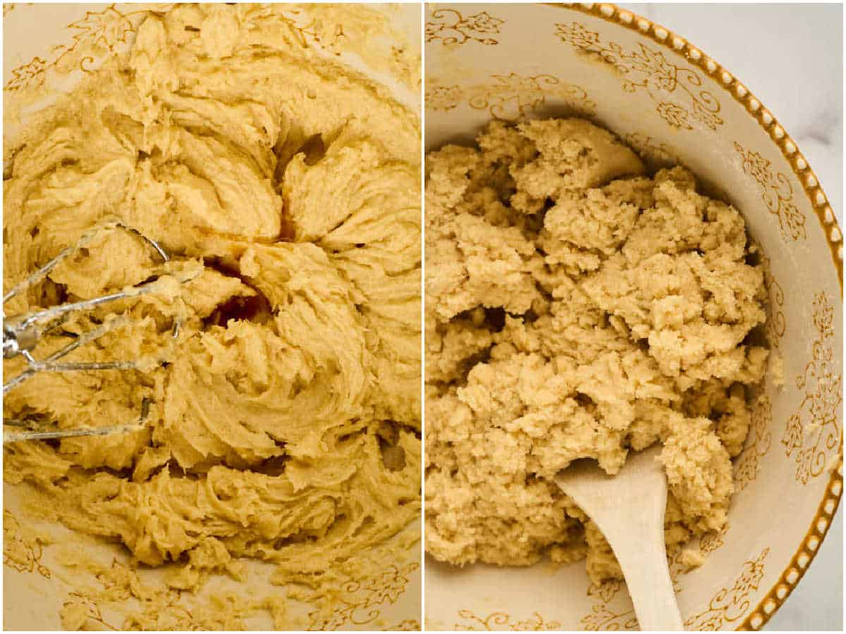 process shots of making cookie dough in mixing bowl