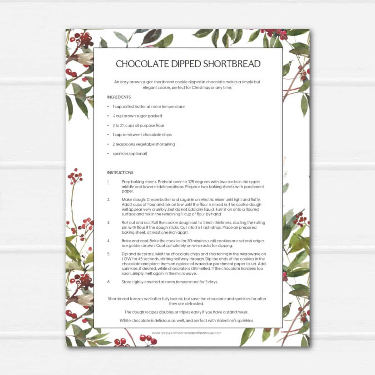 white wooden surface with christmas reccipe printable