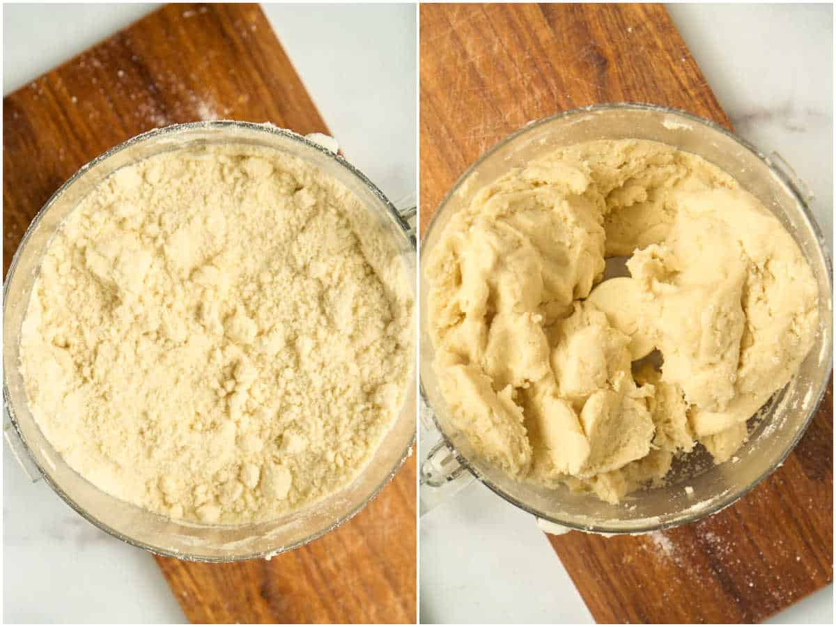 2 images of food processor: one with butter cut into flor, one with dough