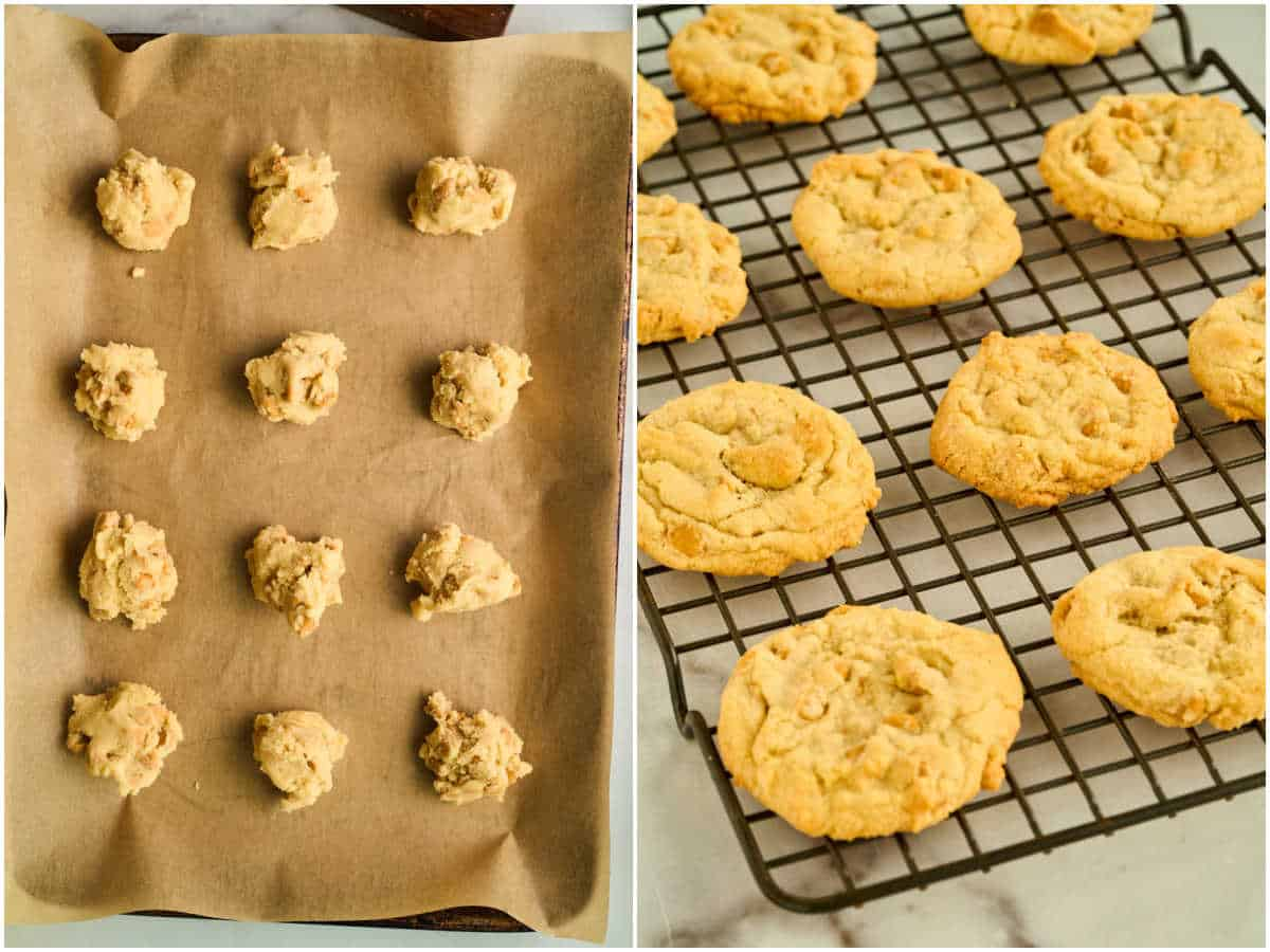 grid of scoops of cookie dough on baking sheet, finished cookies on cooling rack