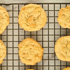 2 cookies fulled baked with golden brown edges